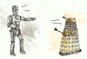 Cyberman vs. Dalek by thegreatperhapss