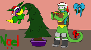 Fin and Donvee's first Christmas by NinjaTurtleGirl