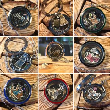 Doctor Who floating lockets  by kahahuna