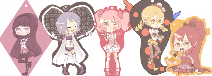 Meguca keychains by AwkwardTension