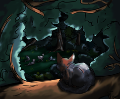 Watching from above a tree by Blackwolfpaw