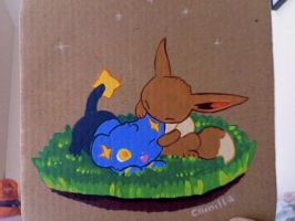 Pokemon: Shinx + Eevee by thaurendim