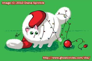 Static Cat Christmas card by amegoddess