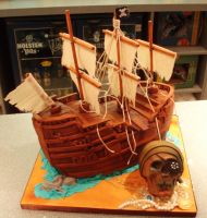 Pirate ship cake by Dragonsanddaffodils