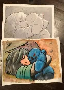 Girl and her astartes plush - colored in Gouache by AlmostZab