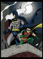 Batman and Robin on patrol by statman71