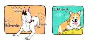 welsh corgi and bullterrier by evelmiina