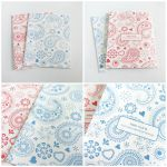 Set of 2 Assorted Red and Blue Paisley Blank Cards by crystaland