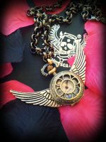 Wings Of Time Steampunk Pendant Watch by francescadani