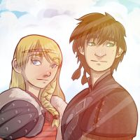 Hiccup and Astrid from How to Train Your Dragon 2 by antzvu