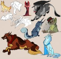 little spamdump of animals by chaoslavawolf