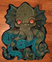 Big wood Cthulhu head by missmonster