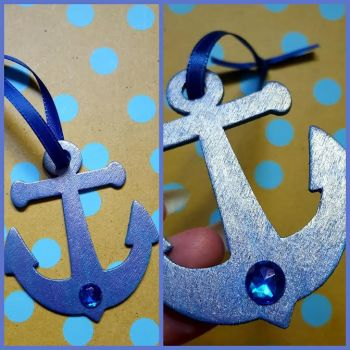 'Metallic Ocean' Anchor Ornament by CrimsonsCreations