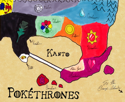 Pokethrones - Map of Kanto by wafische89