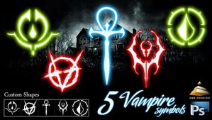 5 Vampire Symbols (Custom Shapes) by HJR-Designs