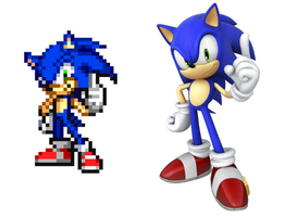 Sonic 4 sprite pose by LeatherRuffian