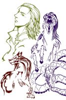 Loki and his children line art by joker4msy