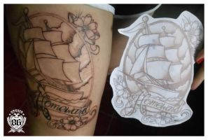 Homeward Ship Tattoo by RiversStudio86