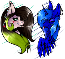Collab - Aline and Bluefire by BladeDeeHunter