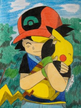 Ash and Pika cuddle XD by Ash-Misty-Pikachu