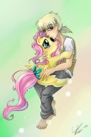 fluttershy hug Bobby color by Imoon90