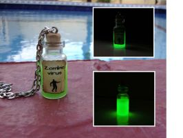 Glow in the dark green zombie virus necklace by Saloscraftshop