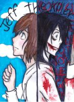 jeff the killer two faces by NENEBUBBLEELOVER