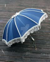 Navy Blue and Taupe Steampunk Parasol by dbvictoria