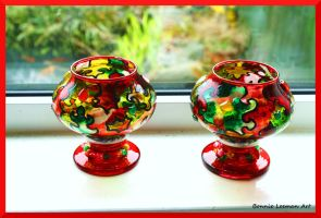 Colourful Candle Holders by Bonniemarie