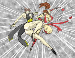 Chun Li vs. Mai Shiranui, Version 2.0 by satoopid
