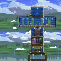 Water fall cross in Terraria by Saraphimwolf