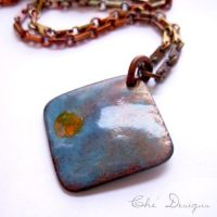 Abstract Enamel Necklace, Mod by che4u