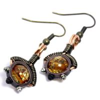 Steampunk Amber Earrings by CatherinetteRings