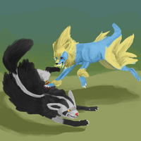 Manectric Vs. Mightyena by Alephron
