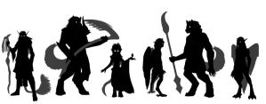 Silhouettes of Kyriae Characters 2 by Zaebrael