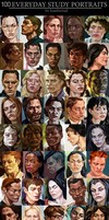 100 STUDY PORTRAITS by HeathWind