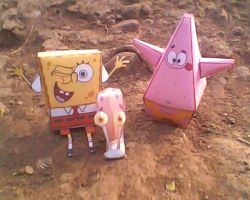 Spongebob and patrick with gary by turtwigcuTey