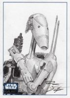Star Wars G6 - Battle Droid Sketch Art Card by DenaeFrazierStudios