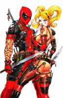 Deadpool and Harley Repaint by CyberGal2013