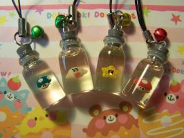Mario Bottle Phonecharms by littlemooglet