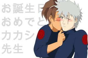 Kakashi's B-Day-Kiss by Mockingbyrd
