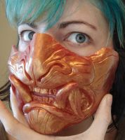 Fire God demon half mask by missmonster