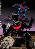 spiderman 2099 vs batman by MonsterIslandStudios