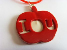 Sherlock IOU Apple Flat 2D Necklace - Red Rubber by tyney123