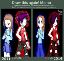 Draw this again meme: Antonia and Jazz by CarlyChannel