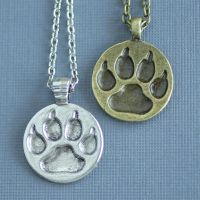 Wolf Paw Print Necklace by MonsterBrandCrafts