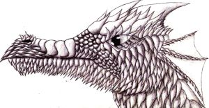 Dragon Head, Scales shading by twistedndistorted