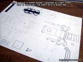 paper rocket launcher step 3 by ninjatoespapercraft