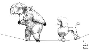 Wombat with Umbrella and Poodle 05 20 2012 by LineDetail