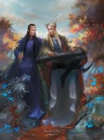 Thranduil and Elrond by tinyyang